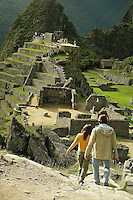 Machu Picchu stands 2,430 m above sea-level, in the middle of a tropical mountain forest, in an extraordinarily beautiful setting.