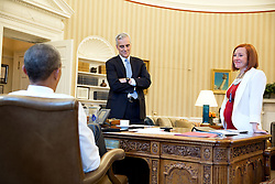 President Barack Obama meets with Chief of Staff Denis McDonough and Jen Psaki, Director of Communications, in the Oval Office, April 1, 2015. (Official White House Photo by Pete Souza)<br /> <br /> This official White House photograph is being made available only for publication by news organizations and/or for personal use printing by the subject(s) of the photograph. The photograph may not be manipulated in any way and may not be used in commercial or political materials, advertisements, emails, products, promotions that in any way suggests approval or endorsement of the President, the First Family, or the White House.