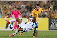SYDNEY, NSW- NOVEMBER 15: Australian Trent Sainsbury (20) and Honduras Carlos Ovidio Lanza (11) come together at the Soccer World Cup Qualifier between Australia and Honduras on November 10, 2017. (Photo by Steven Markham/Icon Sportswire)