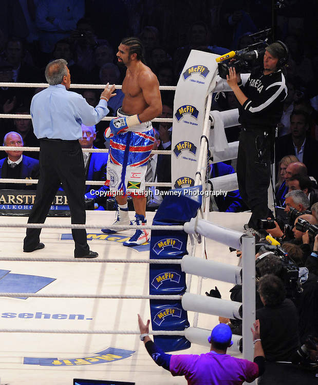 Referee counts David Haye during the WBO, WBA & IBF Heavyweight Title against Wladimir Klitschko at Imtech Arena, Hamburg, Germany, 2nd July 2011. Photo credit: Leigh Dawney 2011