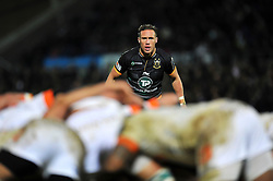 James Wilson of Northampton Saints watches a scrum - Photo mandatory by-line: Patrick Khachfe/JMP - Mobile: 07966 386802 13/12/2014 - SPORT - RUGBY UNION - Northampton - Franklin's Gardens - Northampton Saints v Treviso - European Rugby Champions Cup