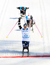 USA's Oksana Masters celebrates winning the Women's 1.1km Sprint, Sitting Cross Country Skiing at the Alpensia Biathlon Centre during day five of the PyeongChang 2018 Winter Paralympics in South Korea