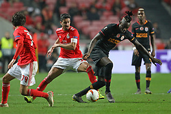 February 21, 2019 - Lisbon, Portugal - André Almeida of SL Benfica (L) vies for the ball with Mbaye Diagne of Galatasaray AS (R) during the Europa League 2018/2019 footballl match between SL Benfica vs Galatasaray AS. (Credit Image: © David Martins/SOPA Images via ZUMA Wire)