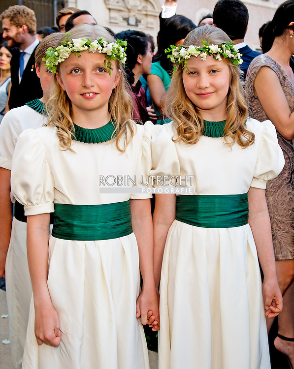 ROME - 5-7-2014 - Prinses Elisabeth and princess Louise<br />  Wedding Royal marriage of Belgium Prince Amedeo and Lili (Elisabetta) Rosboch von Wolkenstein at the Basilica di Santa Maria in Trastevere in Rome, Italy.  COPYRIGHT ROBIN UTRECHT