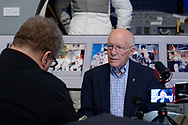Garden City, New York, U.S. June 6, 2019. Apollo Flight Director GERRY GRIFFIN, at right, is interviewed during Cradle of Aviation Museum's Apollo Astronauts Press Conference during its day of events celebrating 50th Anniversary of Apollo 11.