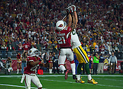 Green Bay 83 Jeff Janis hauls down an Aaron Rogers pass against Patrick Peterson defense.<br /> <br /> NFL Divisional Playoffs: Green Bay Packers vs Arizona Cardinals<br /> NFL Divisional Playoffs: Green Bay Packers vs Arizona Cardinals<br /> University of Phoenix Stadium/Glendale, AZ <br /> 01/16/2016<br /> SI-181 TK1<br /> Credit: John W. McDonough