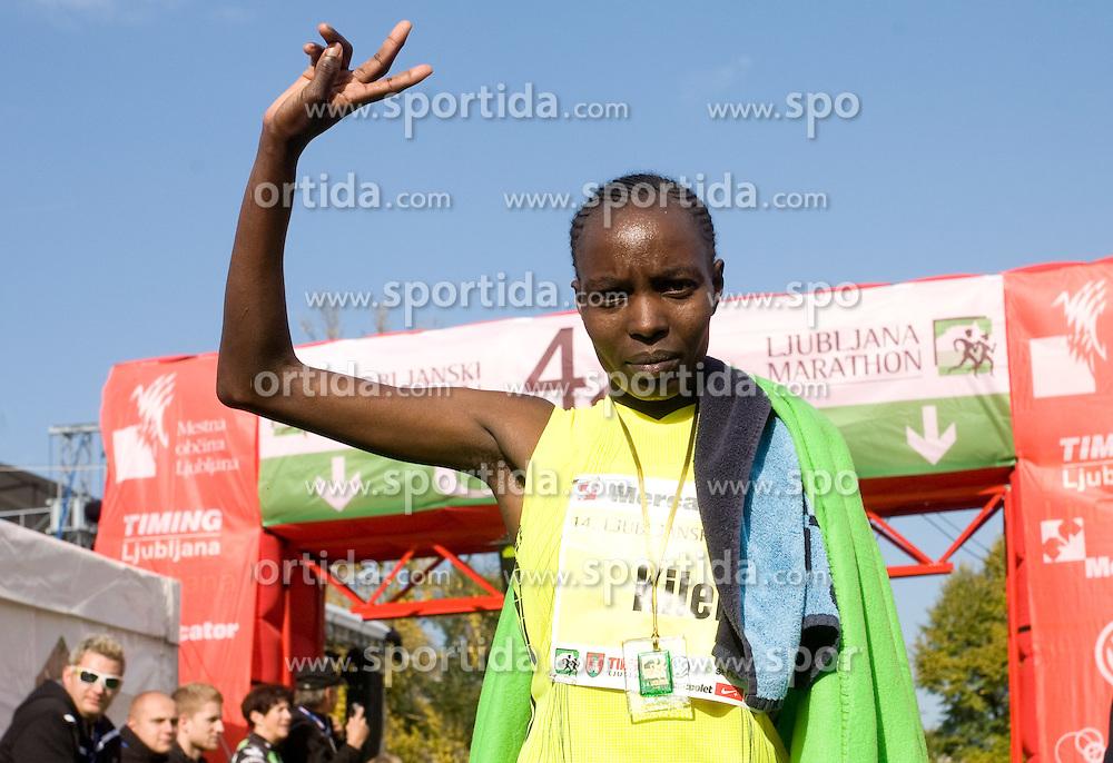 Winner Caroline Cheptonui Kilel of Kenya at the finish line of the 14th Marathon of Ljubljana, on October 25, 2009, in Ljubljana, Slovenia.  (Photo by Vid Ponikvar / Sportida)