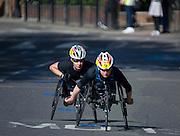 London. United Kingdom. 2014 London Marathon. Wheelchair race, Narrow Street Limehouse, East London. Athletics 09:55:22  Sunday  13/04/2014  [Mandatory Credit; Peter SPURRIER/ Intersport Images],