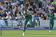 Harry Gurney following through during the NatWest T20 Blast Quarter Final match between Notts Outlaws and Somerset County Cricket Club at Trent Bridge, West Bridgford, United Kingdom on 24 August 2017. Photo by Simon Trafford.