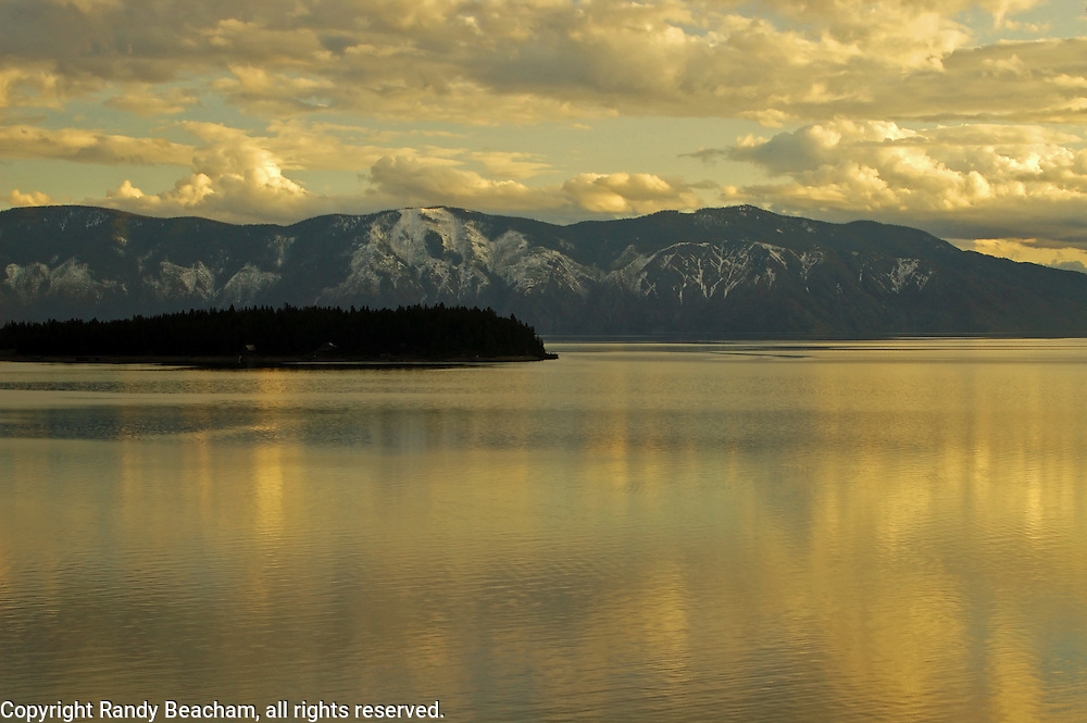Lake Pend Oreille and island at sunset. Near Hope, north Idaho.
