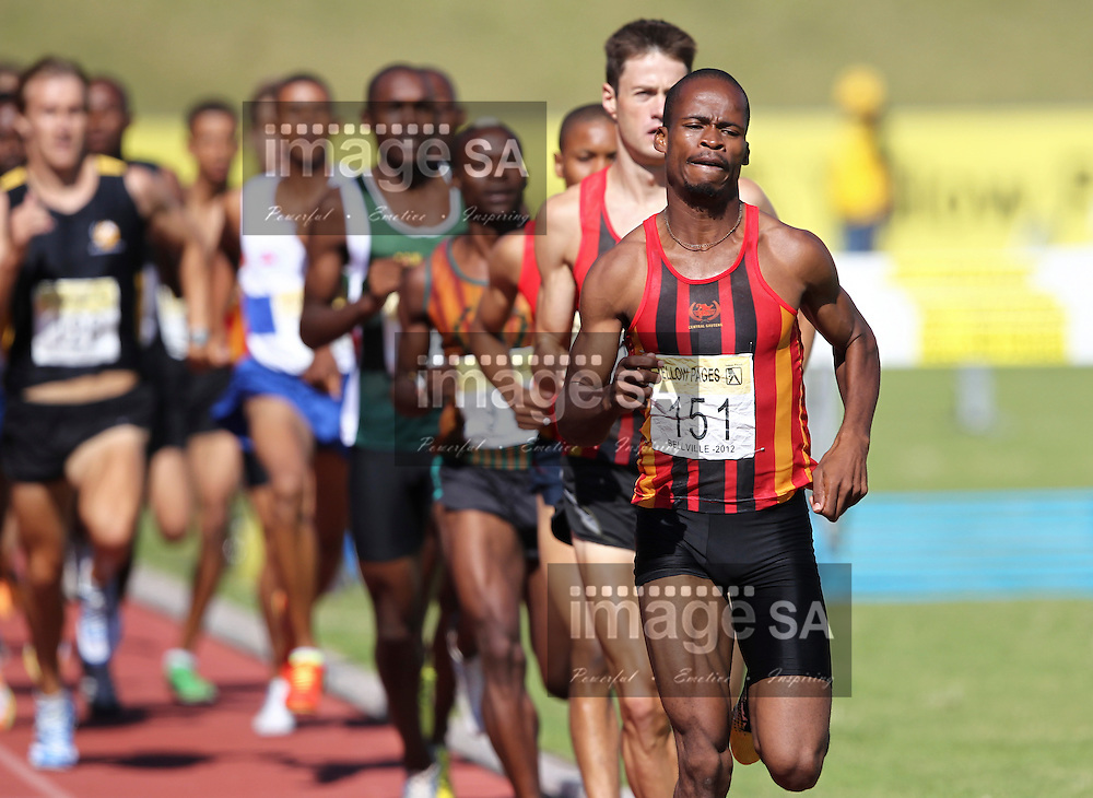 BELLVILLE, SOUTH AFRICA, Saturday 3 March 2012, Tlou Seloba (151) in the mens 1500m during the Yellow Pages Interprovincial held at Bellville Stadium stadium, outside Cape Town..Photo by ImageSA/ASA