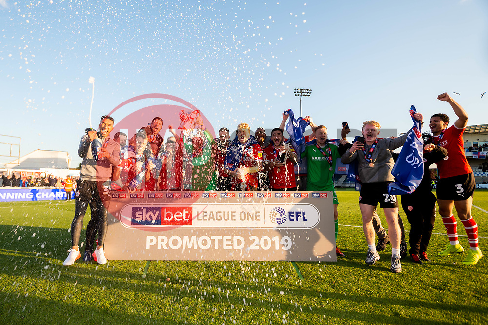 Barnsley celebrate in front of their travelling fans after the final whistle of the match after Barnsley secure automatic promotion to the Sky Bet  Championship  - Mandatory by-line: Ryan Hiscott/JMP - 04/05/2019 - FOOTBALL - Memorial Stadium - Bristol, England - Bristol Rovers v Barnsley - Sky Bet League One
