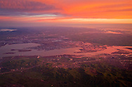 Aerial at sunrise over Susuin Bay and Honker Bay at the mouth of the Sacramento San Joaquin River Delta, California