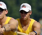 Poznan, POLAND.  2006, FISA, Rowing World Cup, AUS M2- bow  Drew  GINN , move away from the start pontoon at the   'Malta Regatta course;  Poznan POLAND, Fri. 16.06.2006. © Peter Spurrier   ....[Mandatory Credit Peter Spurrier/ Intersport Images] Rowing Course:Malta Rowing Course, Poznan, POLAND