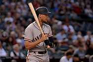 PHOENIX, AZ - APRIL 04:  Hunter Pence #8 of the San Francisco Giants stands at bat in the first inning against the Arizona Diamondbacks at Chase Field on April 4, 2017 in Phoenix, Arizona. The San Francisco Giants won 8-4.  (Photo by Jennifer Stewart/Getty Images)