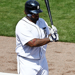 March 14, 2012; Lakeland, FL, USA; Detroit Tigers first baseman Prince Fielder (28) against the New York Mets during a spring training game against the New York Mets at Joker Marchant Stadium. Mandatory Credit: Derick E. Hingle-US PRESSWIRE