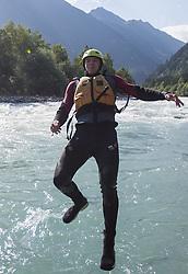 14.07.2015, Ainet, AUT, Eishockey Cracks bei Raftingtour auf der Isel, im Bild Patrik Platzer (EC VSV, EBEL) // Hockey Cracks during a rafting tour on the East Tyrolean glacial river Isel. Ainet, Austria on 2015/07/14. EXPA Pictures © 2015, PhotoCredit: EXPA/ Johann Groder