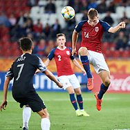Lodz, Poland - 2019 May 27: Ulrik Fredriksen from Norway U20 controls the ball while Norway v New Zealand match during FIFA U20 World Cup at Lodz Arena on May 27, 2019 in Lodz, Poland.<br /> <br /> Photo by © Adam Nurkiewicz / www.photosport.nz