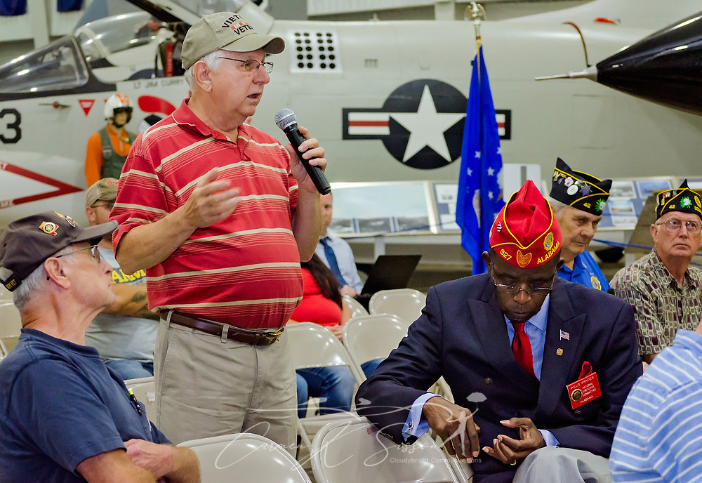 Veteran Rodney Keener shares stories of his VA experiences during the Mobile SWS Town Hall at USS Alabama Battleship Memorial Park in Mobile, Ala., on Friday, April 3, 2017. (Photo by Carmen K. Sisson/Cloudybright)