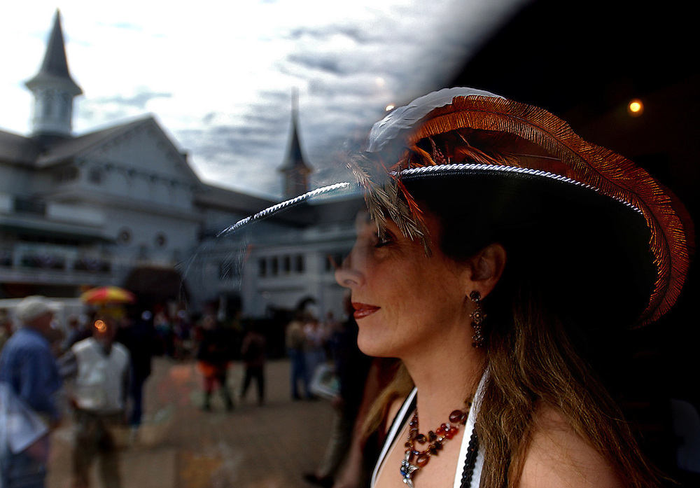 Best hat contestant Jacqueline Madsen-Nigri sports the hat she will wear in the hat contest at Churchill Downs race track the weekend before the Kentucky Derby.   WILLIE J. ALLEN JR.