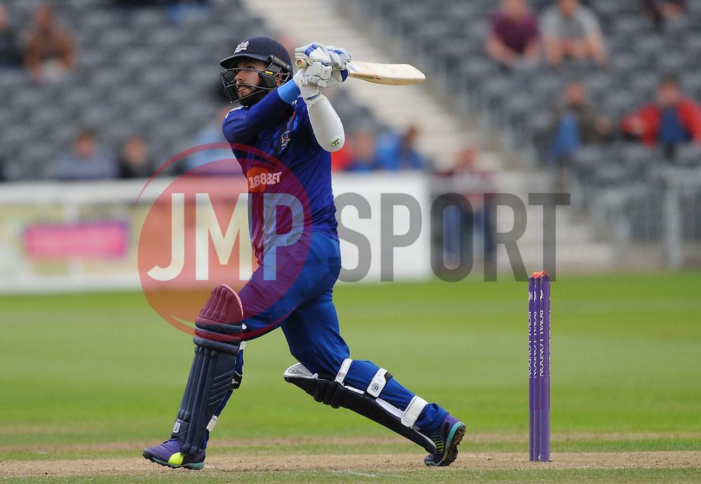 Jack Taylor hits down the ground.  - Mandatory byline: Alex Davidson/JMP - 07966386802 - 26/08/2015 - Cricket - County Ground -Bristol,England - Gloucestershire v Hampshire  - Royal London One Day Cup Quarter-Final - Quarter Final