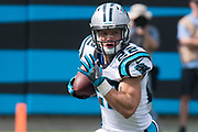 Rookie Christian McCaffrey(22) is focused on the defense in the New Orleans Saints 34 to 13 victory over the Carolina Panthers.