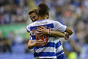 Reading's Chris Gunter congratulates Reading's Carlos Orlando Sa during the Sky Bet Championship match between Reading and Ipswich Town at the Madejski Stadium, Reading, England on 11 September 2015. Photo by Mark Davies.