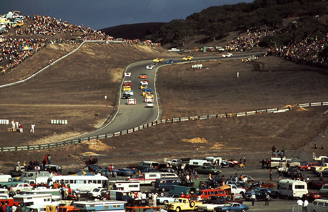 Pace lap of 1972 Laguna Seca Can-Am, pair of Porsches on front row