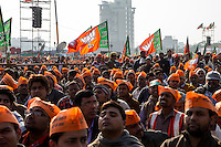 Delhi, India: A rally for the the BJP. Narendra Modi's ruling Bharatiya Janata Party party lost badly in Delhi's legislative election to the Aam Aadmi Party, led by Arvind Kejriwal. The BJP won three seats to the AAP's 67.