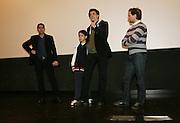 Foto di Donato Fasano Photoagency, nella foto : Checcozalone Luca Medici alla presentazione del film a Bari il 27 11 2009 titolo film cado dalle nubi , gennaro nunziante al microfono regista