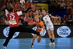 27-09-2017 NED: EK kwalificatie Nederland - Wit Rusland, Eindhoven<br /> De Nederlandse handbalsters hebben de eerste kwalificatiewedstrijd voor het EK 2018 gewonnen. Wit-Rusland werd in Eindhoven met 33-21 aan de kant gezet. <br /> Debby Bont #7