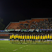 The Australian team sing the national anthem during the Australia V New Zealand Final match at the IRB Junior World Championships in Argentina. New Zealand won the match 62-17 at Estadio El Coloso del Parque, Rosario, Argentina,. 21st June 2010. Photo Tim Clayton...