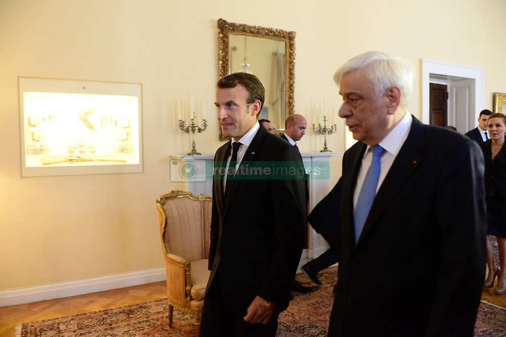 September 7, 2017 - Athens, Attiki, Greece - Entrance of President of Hellenic Republic Prokopis Pavlopoulos (right) with the President of France Emmanuel Macron (left) for the expanded talks between the delegations of Greece and France (Credit Image: © Dimitrios Karvountzis/Pacific Press via ZUMA Wire)
