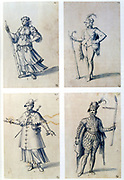 Costume designs for allegorical characters.  Guiseppe Arcimboldo (c1530-1593) Italian painter. Pen, blue ink and watercolour on paper.