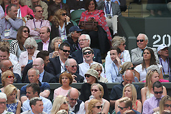 Image ©Licensed to i-Images Picture Agency. 26/06/2014. London, United Kingdom.Liam Payne (left) and Niall Horan(right)  from One Direction in the Centre Court on day four of the Wimbledon Tennis Championships. Picture by Stephen Lock / i-Images