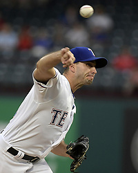 September 12, 2017 - Arlington, TX, USA - Texas Rangers starting pitcher Miguel Gonzalez works during the first inning against the Seattle Mariners at Globe Life Park in Arlington, Texas, on Tuesday, Sept. 12, 2017. (Credit Image: © Max Faulkner/TNS via ZUMA Wire)