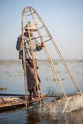 Fishing boy in Inle Lake (Myanmar)