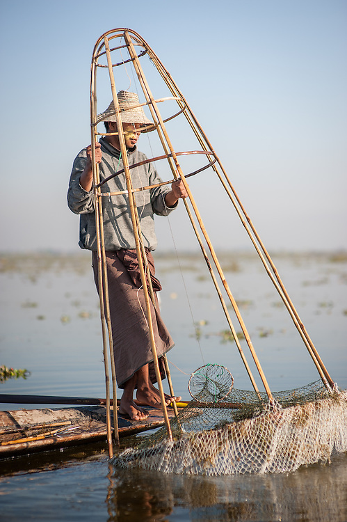 Fishing boy in Inle Lake (Myanmar)