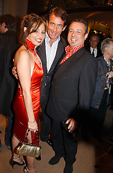 Left to right, CAROLE SILLER, TIM JEFFERIES and HAMISH McALPINE at a party to celebrate 100 years of Chinese Cinema hosted by Shangri-la Hotels and Tartan Films at Asprey, New Bond Street, London on 25th April 2006.<br />