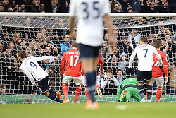 Tottenham's Roberto Soldado celebrates scoring a goal - Photo mandatory by-line: Mitchell Gunn/JMP - Tel: Mobile: 07966 386802 02/03/2014 - SPORT - FOOTBALL - White Hart Lane - London - Tottenham Hotspur v Cardiff City - Premier League