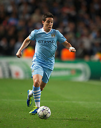 MANCHESTER, ENGLAND - Wednesday, September 14, 2011: Manchester City's Samir Nasri in action against SSC Napoli during the UEFA Champions League Group A match at the City of Manchester Stadium. (Photo by Chris Brunskill/Propaganda)
