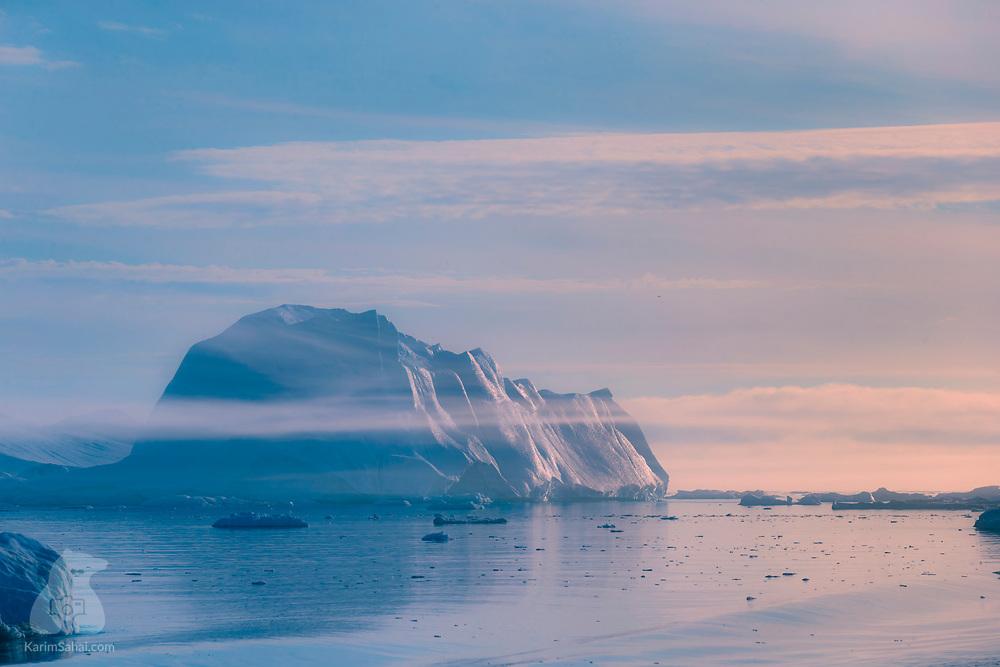 Midnight sun in Disko Bay, Greenland