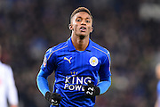 Leicester City midfielder Demarai Gray (22) during The FA Cup fourth round replay match between Leicester City and Derby County at the King Power Stadium, Leicester, England on 8 February 2017. Photo by Jon Hobley.