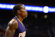 Oct 16, 2014; Phoenix, AZ, USA; Phoenix Suns guard Eric Bledsoe (2) looks up the court against the San Antonio Spurs in the firsts half at US Airways Center. Mandatory Credit: Jennifer Stewart-USA TODAY Sports