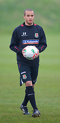 SWANSEA, WALES - Monday, March 30, 2009: Wales' Under-21 Ashley Richards training at the Glamorgan Health & Racquets Club ahead of the UEFA Under-21 Championship Qualifying group 3 match. (Photo by David Rawcliffe/Propaganda)