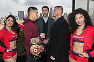 March 6, 2019; New York, NY, USA; WBA light heavyweight champion Dmitriy Bivol and challenger Joe Smith Jr. pose after the final press conference for their March 9, 2019 fight at the Turning Stone Resort and Casino in Verona, NY.  Mandatory Credit: Ed Mulholland/Matchroom Boxing USA