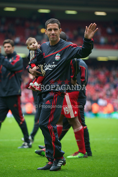 LIVERPOOL, ENGLAND - Sunday, May 2, 2010: Liverpool's Maximiliano Ruben Maxi Rodriguez during the Lap of Honour, after the final Premiership match of the season at Anfield. (Photo by David Rawcliffe/Propaganda)