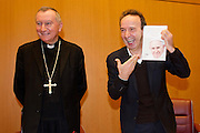 Vatican City jan 12th 2016, presentation of the book ' The name of God is Misery ' an interview to Pope Francis. In the picture the Card. Pietro Parolin, vatican state secretary, and the actor Roberto Benigni