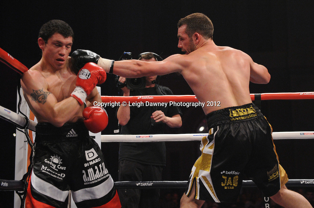 Lee Purdy defeats Gumersindo Lucas Carrasco in 12x3 bout to claim an International Welterweight Title at Alexandra Palace, Muswell Hill, North London on Saturday 8th September 2012. Matchroom Sport. Pictures © Leigh Dawney Photography 2012.