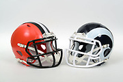 A view of Cleveland Browns and Los Angeles Rams helmets on Thursday, November 2, 2017. (Kirby Lee via AP)
